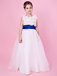 A-line Princess Floor-length Flower Girl Dress - Organza Satin Jewel with Bow(s) Flower(s) Sash / Ribbon