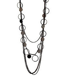 Round Circle Stacked Long Necklace