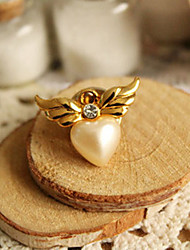 Angel Wing Pearl Love Brooch