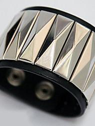 Rhombus Design Leather Wide Nail Bangle