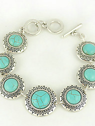 Turquoise And Silver Alloy Sun Charm Toggle Bracelet