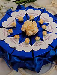 bleu royal avec la boîte de roses faveur gâteau (jeu de 10)