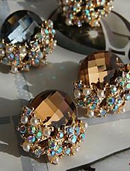 piscando brincos gema com nervuras de cristal (mais cores)