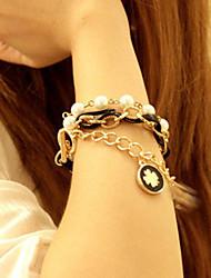 Black Gold Chain Clover Stacked Bracelet