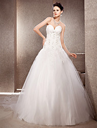 Lan Ting Ball Gown Plus Sizes Wedding Dress - Ivory Chapel Train Sweetheart Organza/Lace