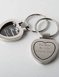 Personalized Chrome Heart Photo Frame Key Ring(Set of 4)