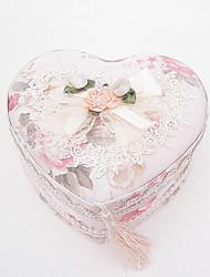 Rose Print & Lace Heart Shaped Jewelry Box