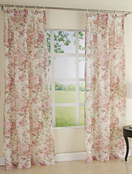 (Two Panels) Country Floral Print Eco-Friendly Curtain