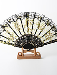 Gorgous Rose Pattern Fan With Lace – Set of 4 (More Colors)