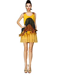 Chiffon Spalte scoop Mini Sommerkleid