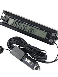 3 en 1 reloj de termómetro de la tensión del monitor digital de coches