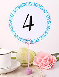 Round Table Number Card - Blue Elegant Flower