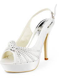 Satin Stiletto Heel Pumps With Rhinestones Wedding Shoes (More Colors Available)