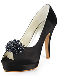 Silk Stiletto Heel Peep Toe / Pumps With Crystal Wedding Shoes (More Colors Available)