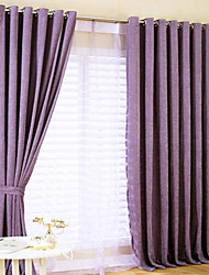 Two Panels  Purple Solid Thermal Curtains Drapes