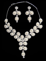 Sparkling Pearl Ladies Necklace and Earrings Jewelry Set (45 cm)