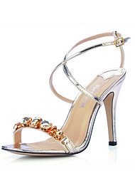 Leatherette With Rhinestone Sandals (More Colors)