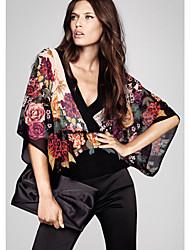 floral print v-pescoço camisa estilo quimono chiffon