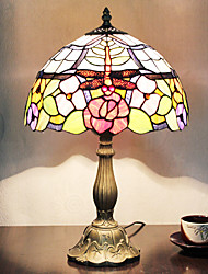 Tiffany Table Light with 1 Light in Flowers and Dragonfly Pattern