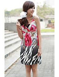 V-Ausschnitt Chiffon Mini Sommerkleid