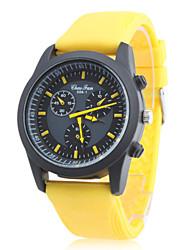 Homens Relógio Esportivo Japanês Quartzo Borracha Banda Amarelo