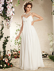 Sheath / Column Spaghetti Straps Floor Length Chiffon Wedding Dress with Beading Draped Side-Draped by LAN TING BRIDE®