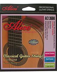 Alice - (ac136bk-n) tensão normal cordas da guitarra clássica (028-043)