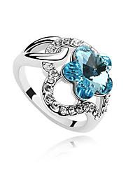 Австрия кристалл кольцо с платиновым напылением сплава - прекрасный цветок сливы (более цветов)