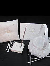 Wedding Collection Set In White Satin With Exquisite Embroidery Covery And Faux Pearl  (4 Pieces)