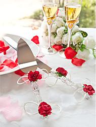 ensembles servant gâteau de mariage cristal de couteau roses rouges gâteau Ensemble de service