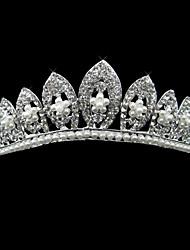 Silber-Legierung Strass und Perlen schimmernde Blüte Braut Diadem