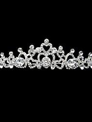 aleación de plata y perlas de diamantes de imitación de novia sencillo diseño de diadema