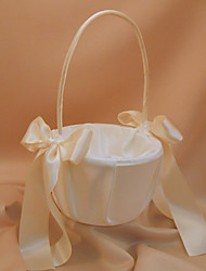White Flower Girl Basket With Ivory Ribbon