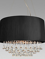 Crystal Ceiling Light with 5 Lights in Black Fabric Shade