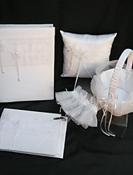 Elegant Wedding Collection Set In White Satin (Photo Album,Ring Pillow,Flower Basket,Guest Book,Garter)
