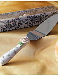 обслуживающие наборы свадебный торт нож элегантные розы дизайн смолы сервер ручка торт