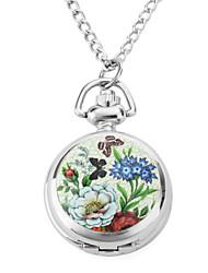 Mulheres Relógio de Bolso Quartz Banda Borboleta Prata marca-