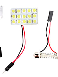 t10 BA9s 0.18wx15 luz transparente de 15 SMD 5050 coche de luz LED de lectura (DC 12V)
