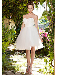 Lanting Bride® Ball Gown Petite / Plus Sizes Wedding Dress - Chic & Modern / Reception See-Through Wedding Dresses Knee-length Sweetheart