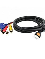 chapado en oro hdtv v1.3 HDMI a VGA HD15 3 del cable rca (5 pies, 1,5 m)