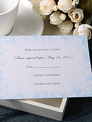 Personalize Wedding Response Cards - Blue Floral (Set of 50)