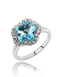 Австрия кристалл кольцо с платиновым напылением сплава - шикарный цветок сливы (более цветов)