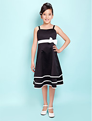 Knee-length Satin Junior Bridesmaid Dress - Black A-line Square / Spaghetti Straps
