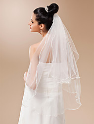Wedding Veil Two-tier Fingertip Veils Pencil Edge 35.43 in (90cm) Tulle White WhiteA-line, Ball Gown, Princess, Sheath/ Column, Trumpet/