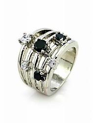 lussuoso nero e trasparente zirconi platinato forma rotonda anello di moda