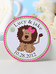 Personalized Favor Tag - Pink Lion (Set of 36)