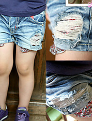 Children Scraping Wire Spangle Pocket Washed Denim Shorts