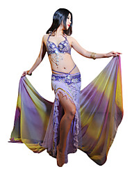3-piece Dancewear Polyester With Beading Performance Belly Dance Outfit For Ladies More Colors