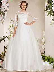 Lan Ting Ball Gown Plus Sizes Wedding Dress - Ivory Chapel Train Bateau Lace/Organza