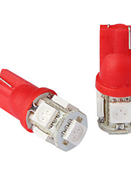 t10 0.18wx5 5-SMD 5050 coche de luz LED de lectura, DC 12v/pair (rojo)